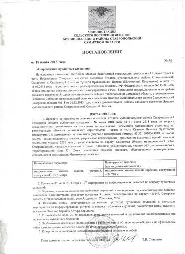 Постановление № 30 от 18.06.2018 года